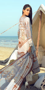 Stitched Faustina Lawn 3pc With Embroidered Front , Embroidered Duppatta  & Trouser Bunches (WK-289A)