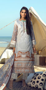 Faustina Lawn 3pc With Embroidered Front , Embroidered Duppatta  & Trouser Bunches (WK-289A)