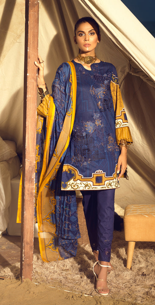 Faustina Lawn 3pc With Embroidered Front , Embroidered Duppatta  & Trouser Bunches (WK-290A)