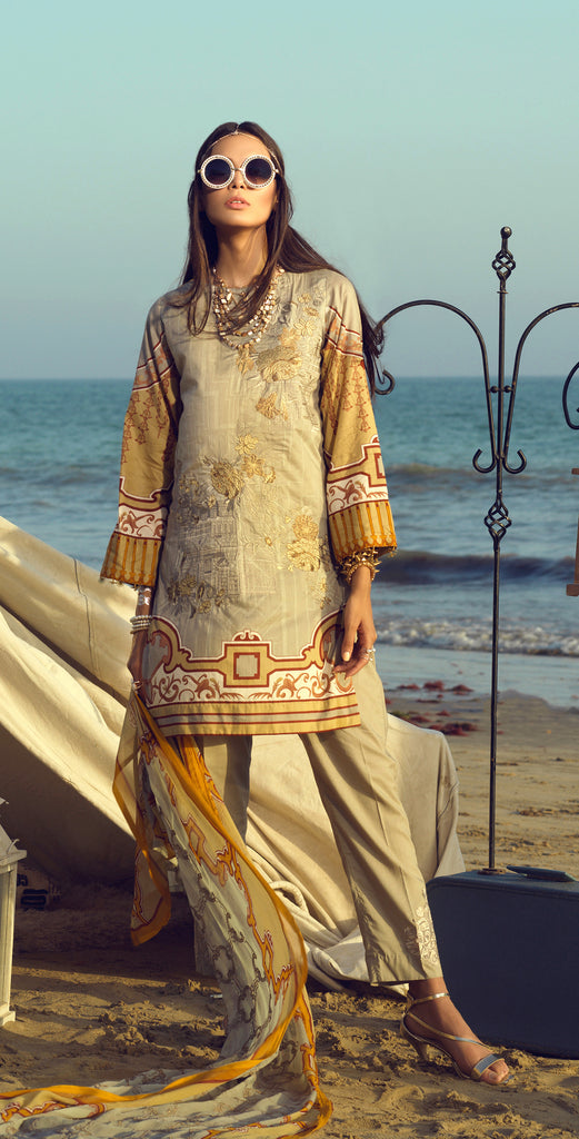 Stitched Faustina Lawn 3pc With Embroidered Front , Embroidered Duppatta  & Trouser Bunches (WK-290B)
