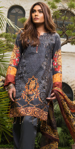 3pc Digital Lawn |  Front Embroidered , Bamber Pure Chiffon Dupatta & Trouser Bunches  ( Des # WK 173 )