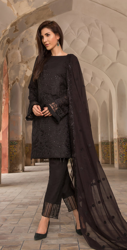 Embroidered Swiss Voile with Chiffon Dupatta &  Trouser Bunches I 3pc (WK-155)