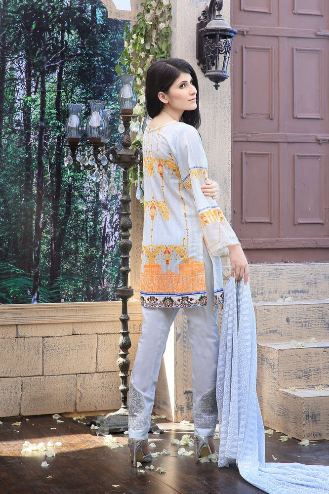 3pc Suit | Embroidered Front , Chikankari Dupatta & Trouser Bunches (WK-128b)
