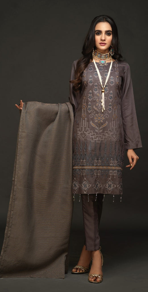 Un-Stitched 3pc Viscos Embroidered Shirt with Organza Dupatta (WK-460)