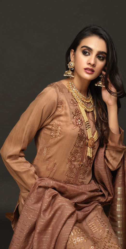 Sticthed 3pc  Viscos Embroidered Shirt with Organza Dupatta (WK-461)