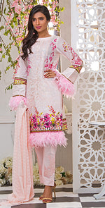 3pc Suit | Embroidered Front , ChikanKari Dupatta & Trouser Bunches ( Des # WK-161A )