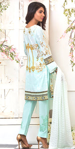 3pc Suit | Embroidered Front , ChikanKari Dupatta & Trouser Bunches ( Des # WK-161B )