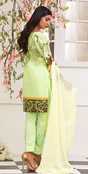 3pc Suit | Embroidered Front , ChikanKari Dupatta & Trouser Bunches ( Des # WK-164B )