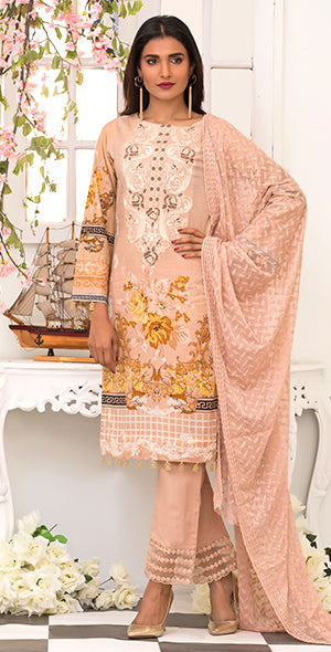 3pc Suit | Embroidered Front , ChikanKari Dupatta & Trouser Bunches ( Des # WK-165A )
