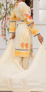 3pc Suit | Embroidered Front , ChikanKari Dupatta & Trouser Bunches ( Des # WK-165B )