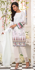 3pc Suit | Embroidered Front , ChikanKari Dupatta & Trouser Bunches ( Des # WK-162A )