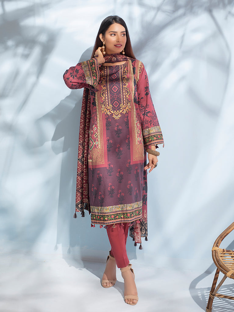 Unstitched 3pc Digital Printed Lawn Shirt & Digital Printed Lawn Dupatta with Dyed Cambric Trouser - Malabis (IP-00062)