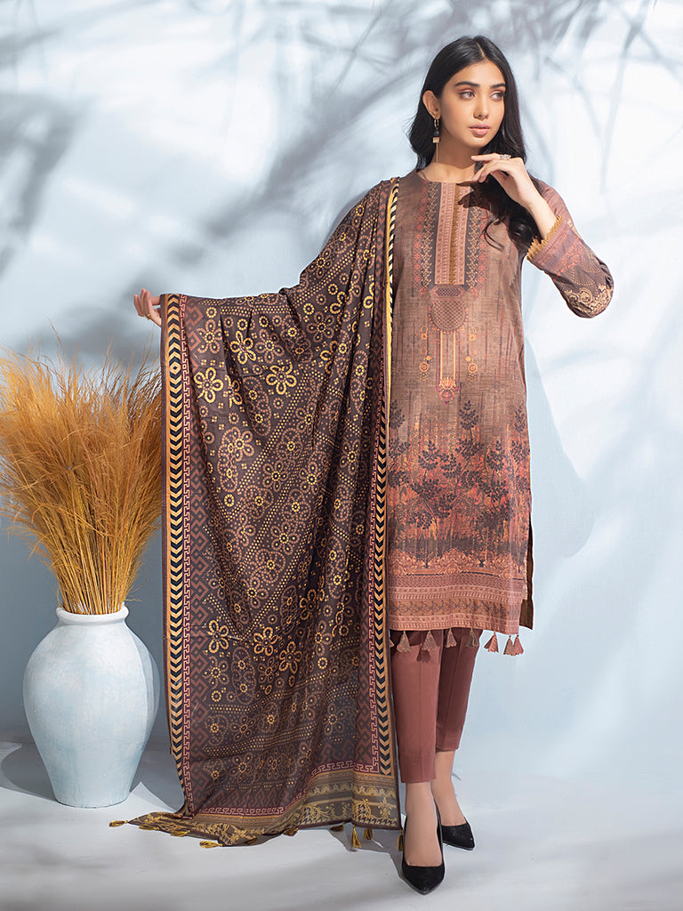 Unstitched 3pc Digital Printed Lawn Shirt & Digital Printed Lawn Dupatta with Dyed Cambric Trouser - Malabis (IP-00054)
