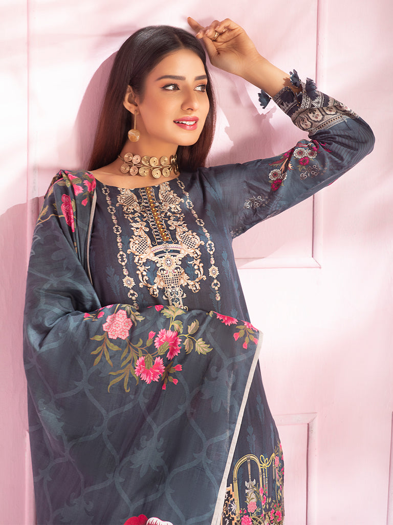 Unstitched 3pc Digital Printed Lawn Shirt & Digital Printed Lawn Dupatta with Dyed Cambric Trouser - Malabis (IP-00063)