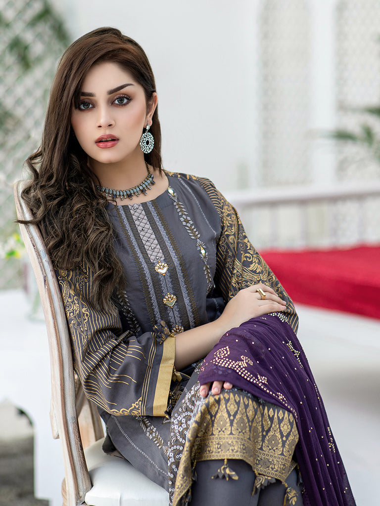 Russet-Unstitched 3pc Embroidered Lawn Shirt Front with Printed lawn Back & Sleeves with Mukesh Chiffon Dupatta & Dyed Cambric Trouser - Oznur (WK-00709)