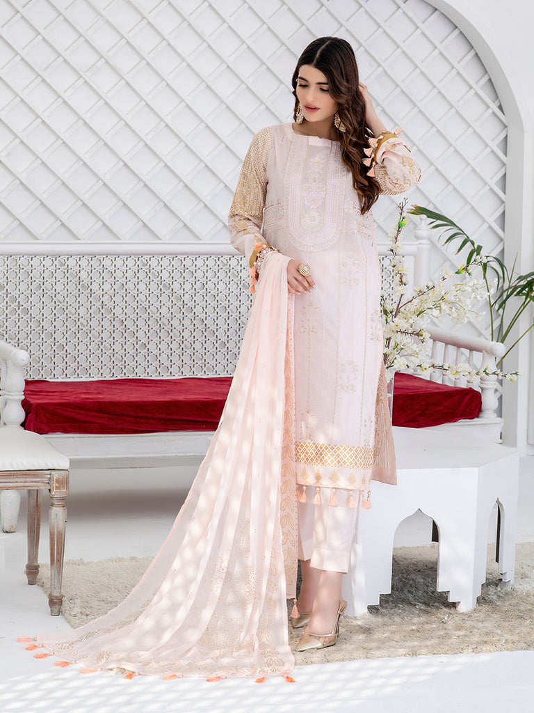 Vanilla-Unstitched 3pc Embroidered Lawn Shirt Front with Printed lawn Back & Sleeves with Mukesh Chiffon Dupatta & Dyed Cambric Trouser - Oznur (WK-00712)