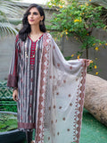 Dark Wood-Unstitched 3pc Printed Embroidered Lawn Shirt with Chiffon Embroidered Dupatta & Dyed Cambric Trouser- Shades of Summer (WK-00696A)