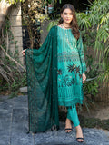 Forest Green-Unstitched 3pc Printed Embroidered Lawn Shirt with Chiffon Embroidered Dupatta & Dyed Cambric Trouser- Shades of Summer (WK-00691B)