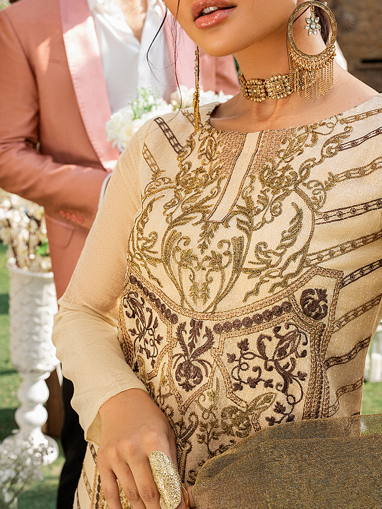 Gold Love - Unstitched 3pc Fancy Base Embroidered Shirt with Fancy khaddi Dupatta & Dyed Raw Silk Trouser - Vogue (WK-00655)
