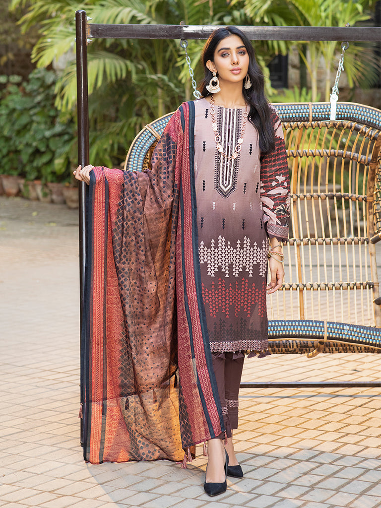 Plum pebble-Unstitched 3pc Printed Embroidered Lawn Shirt with Fancy Check Printed Dupatta & Dyed Cambric Trouser - Estela (WK-00715B)