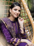 Electric purple -Unstitched 3pc Printed Lawn Shirt with embroidered sleeves & Fancy Check  Printed Dupatta & Dyed Cambric Trouser - Estela (WK-00716B)
