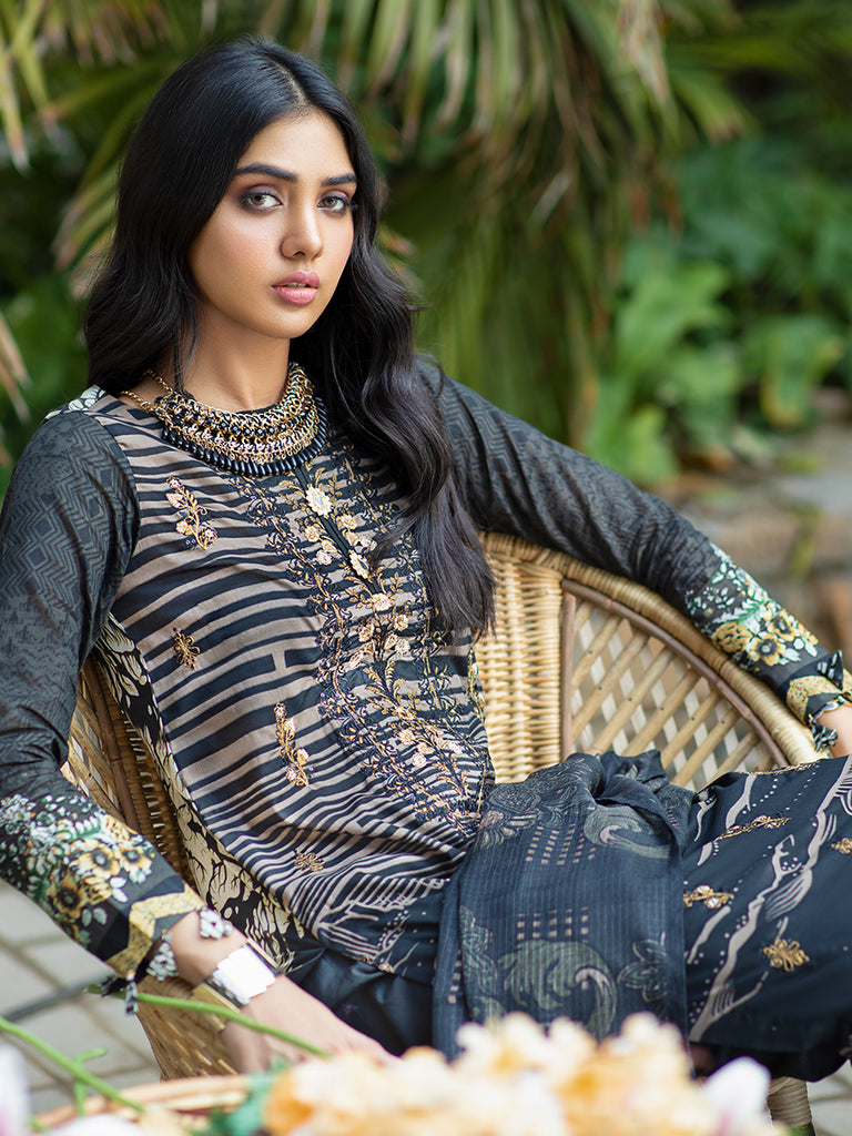 Charcoal slate-Unstitched 3pc Printed Embroidered Lawn Shirt with Fancy Check Printed Dupatta & Dyed Cambric Trouser - Estela (WK-00717B)
