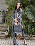 Grey pebble-Unstitched 3pc Printed Embroidered Lawn Shirt with Fancy Check Printed Dupatta & Dyed Cambric Trouser - Estela (WK-00715A)