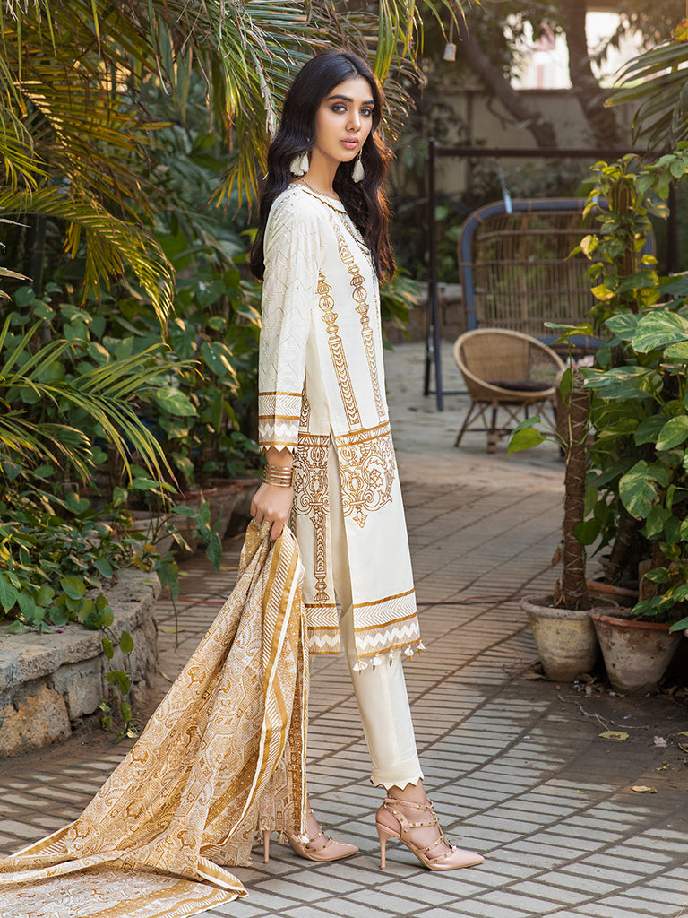 White shine-Unstitched 3pc Printed Lawn Shirt with embroidered sleeves & Fancy Check  Printed Dupatta & Dyed Cambric Trouser - Estela (WK-00716A)