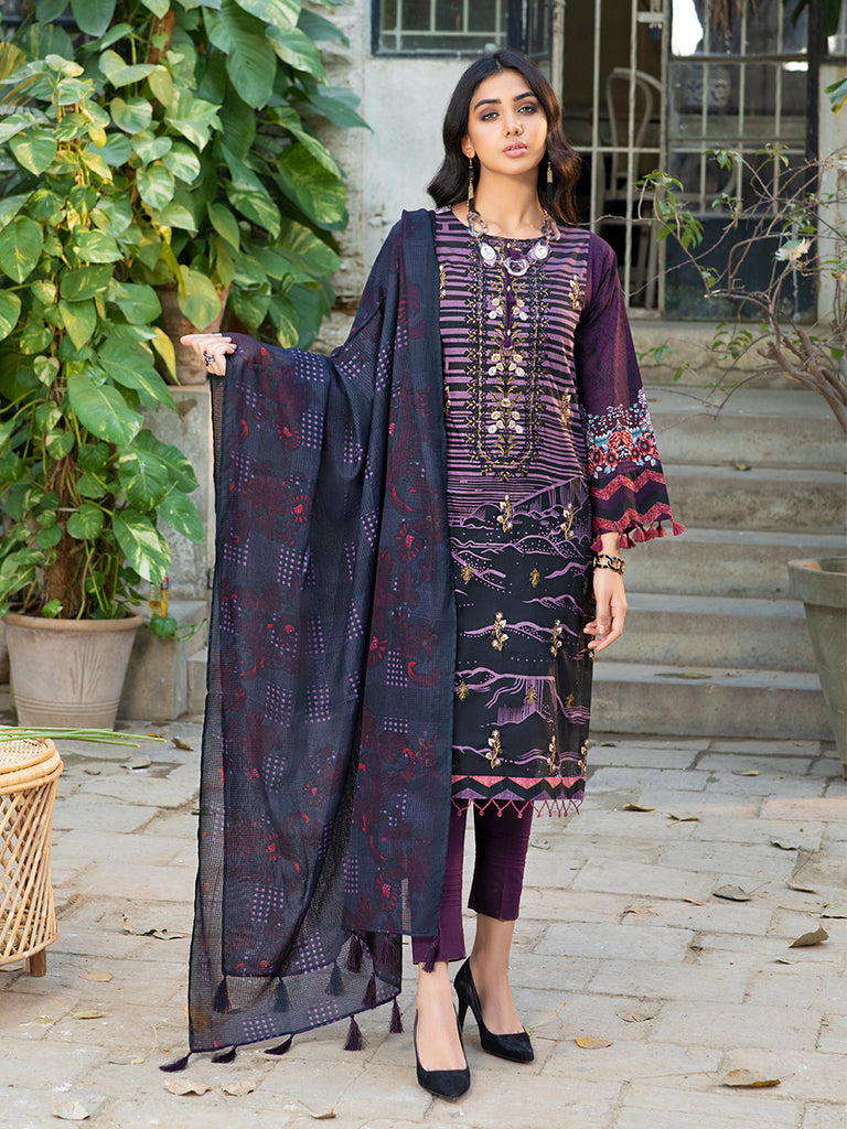 Graphite slate-Unstitched 3pc Printed Embroidered Lawn Shirt with Fancy Check  Printed Dupatta & Dyed Cambric Trouser - Estela (WK-00717A)