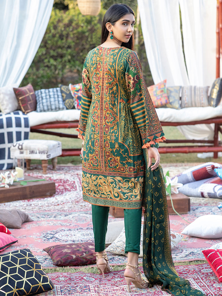 Unstitched 3pc Printed Embroidered Lawn Shirt with Printed Chiffon Dupatta & Dyed Cambric Trouser - Z'ure (WK-00699A)