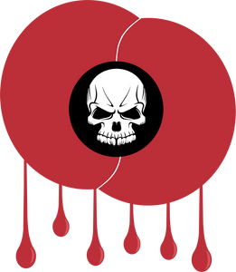 Pack of 10 bloodstained poppy stickers