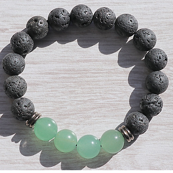 Green Aventurine Lava Bead Bracelet - little-gems-metaphysical-store