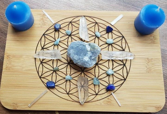 Throat Chakra Crystal Grid Set - Speak Your Truth - little-gems-metaphysical-store
