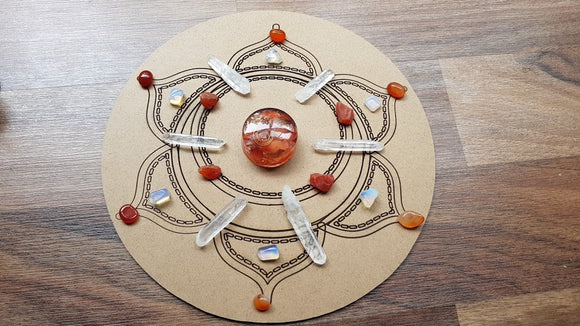 Sacral Centre Boost Crystal Grid + Gift - little-gems-metaphysical-store