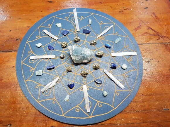 Throat Chakra Mandala Crystal Grid Set - Stand By Your Convictions - little-gems-metaphysical-store