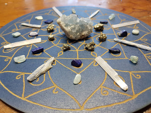 Throat Chakra Mandala Crystal Grid Set - Stand By Your Convictions - Little Gems Metaphysical Store