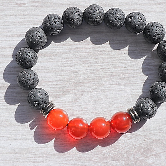 Red Carnelian Lava Bead Bracelet - Little Gems Metaphysical Store