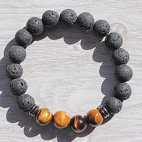 Tigers Eye Lava Bead Bracelet - little-gems-metaphysical-store