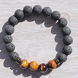 Tigers_Eye Lava Bead Bracelet - Little Gems Metaphysical Store