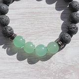 Green Aventurine Lava Bead Bracelet - Little Gems Metaphysical Store