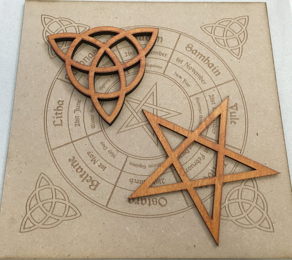 Wiccan wheel of the Year and Candle Base Set