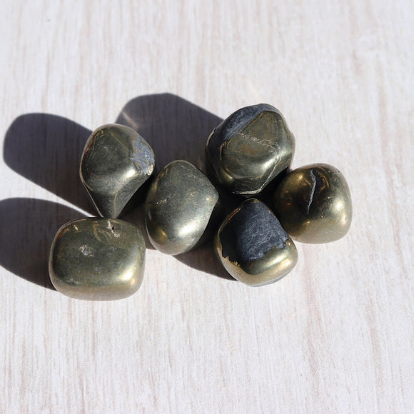 Golden Pyrite Tumbled Stones - little-gems-metaphysical-store