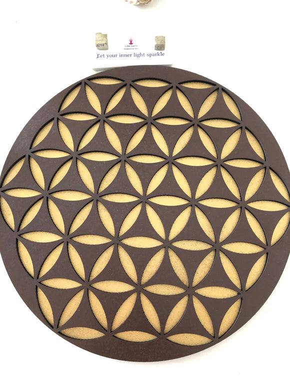 Flower of Life double printed Crystal Grid Base - Little Gems Metaphysical Store