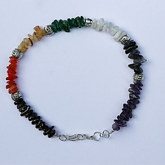 Buddha Charm Chakra Chips Anklet - Little Gems Metaphysical Store