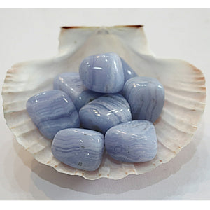 Blue Lace Agate Crystal Tumbled Stones - Little Gems Metaphysical Store