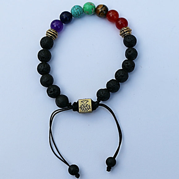 7 Gemstone Chakra Lava Bracelet - Adjustable - Little Gems Metaphysical Store