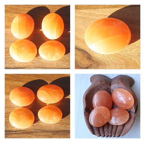 Orange Selenite Palm Stones - little-gems-metaphysical-store