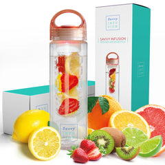 Savvy Infusion® Water Bottles - 24 or 32 Ounce Fruit Infuser Bottle - Featuring Unique Leak Proof Silicone Sealed Cap with Handle - Great Gifts for Women