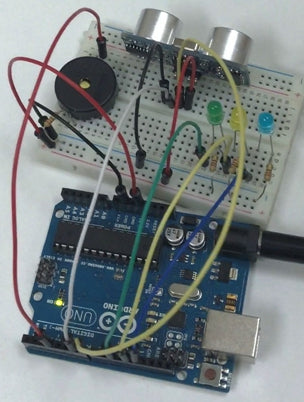 the circuit for ultrasonic saftey system with hc-sr04 sensor