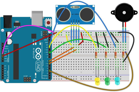 circuit to make ultrasonic saftey system with arduino